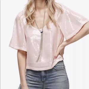 NWT Free People Night Fever Sequin Top Sz Small